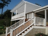 Exterior pergola, railings, and stairs