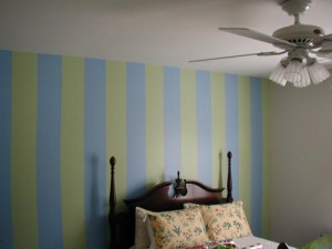 striped bedroom wall